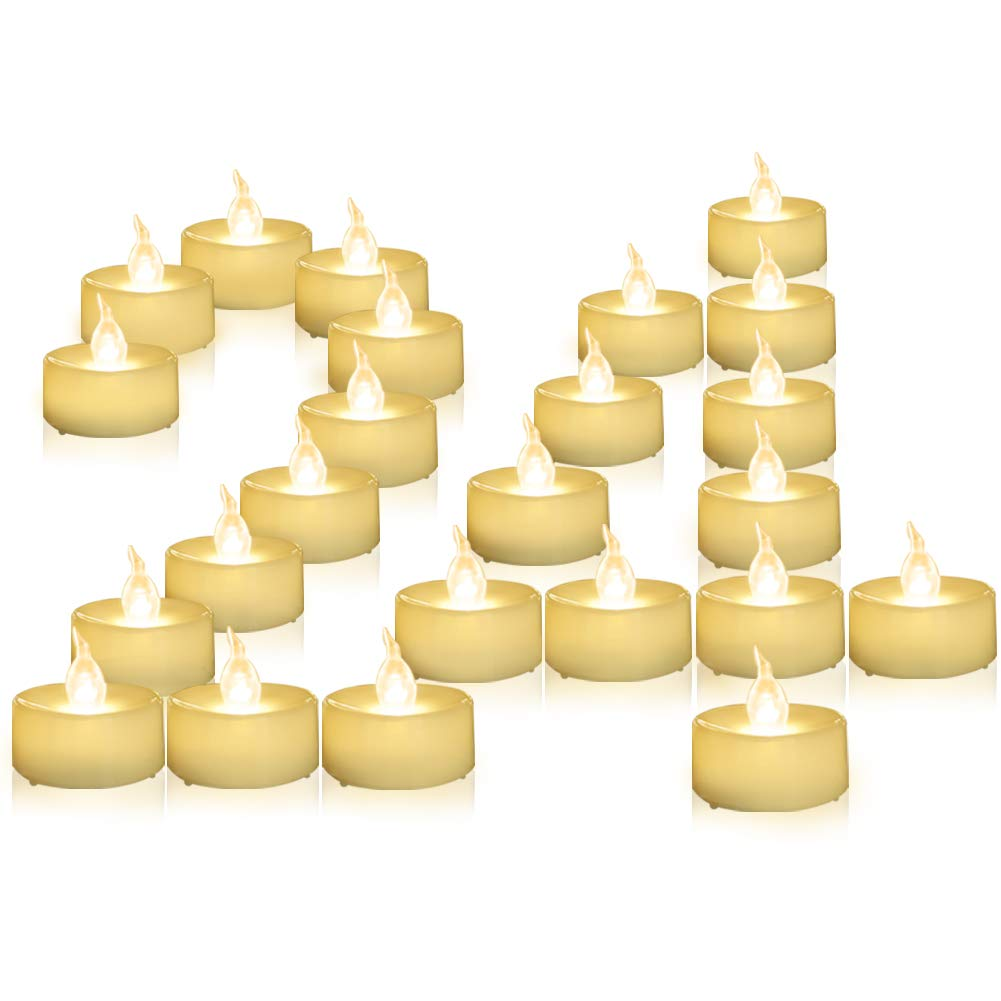 Beichi 24 Pack LED Flameless Tea Lights with Timer, Warm White Flickering Battery Operated Tealight Candles, Small Electric Fake Votive Candles, 6 hrs On 18 hrs Off by Beichi