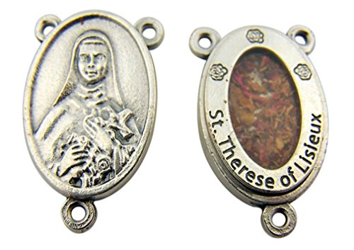 (Saint Therese of Lisieux 7/8 Inch Silver Tone Rosary Centerpiece with Flowers)