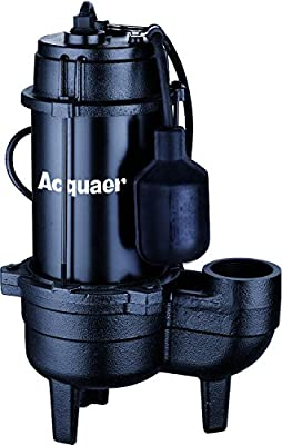 Acquaer Durable Cast Iron Submersible Sewage Pump with 10ft. Tethered Piggy Back Float Switch, 1/2 HP, 115V