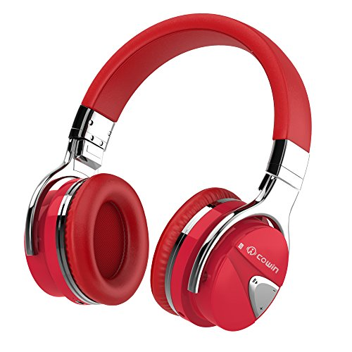 Bluetooth Headphones, Noise Cancelling Over-Ear Headphones, HiFi Stereo Headsets with built-in Microphone, Red