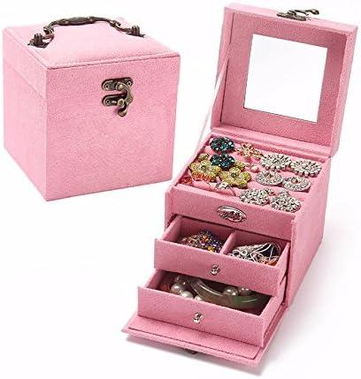 lzzfw Caja de regalo de Navidad caja de joyas Caja de joyas de tres niveles caja de joyerÃa de franela caja decorada caja de joyerÃa: Amazon.es: Hogar
