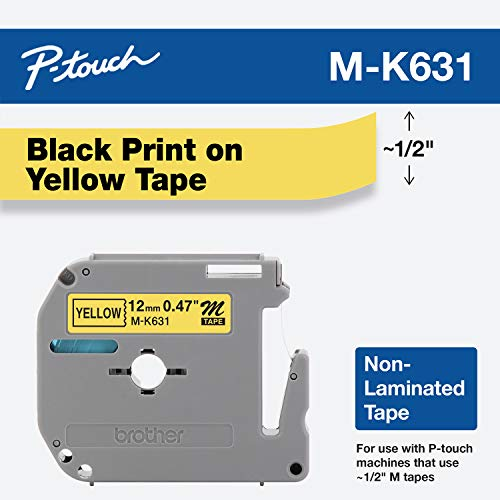 """Brother Genuine P-touch M-K631 Label Tape 1/2"""" (0.47"""") Standard Laminated P-touch Tape, Black on Yellow Laminated for Indoor or Outdoor Use, Water Resistant, 26.2 Feet (8M), Single-Pack (MK631) from BROTHER"""