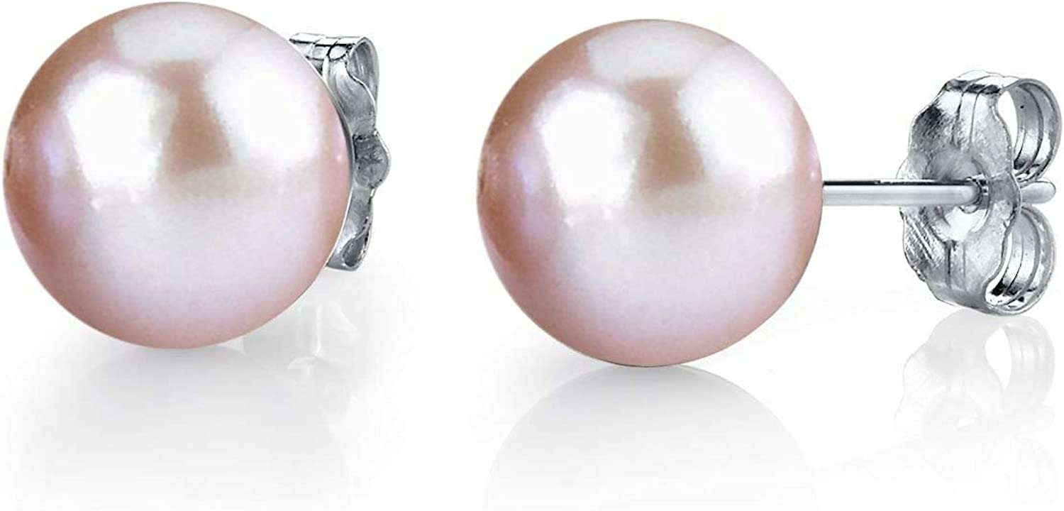 THE PEARL SOURCE 14K Gold Round Pink Freshwater Cultured Pearl Stud Earrings for Women