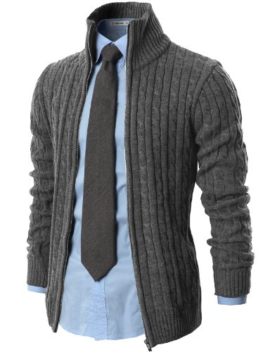H2H-Mens-Casual-Knitted-Cardigan-Zip-up-with-Twisted-Pattern