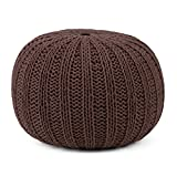 Simpli Home Shelby Round Pouf, Chocolate Brown