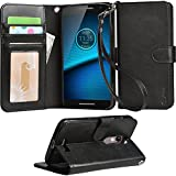 Droid Turbo 2 Case, Arae Motorola Moto Droid Turbo 2 wallet case,[Wrist Strap] Flip Folio [Kickstand Feature] PU leather wallet case with ID&Credit Card Pockets For Moto Turbo 2 (Black)
