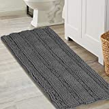 Luxurious Shaggy Chenille Bath Mat Microfiber for Hotel-Spa Tub Shower Floor Non-Slip High Absorbent Soft Large Super Soft, Plush & Absorbent, Hand Tufted Heavy Weight, Solid Gray
