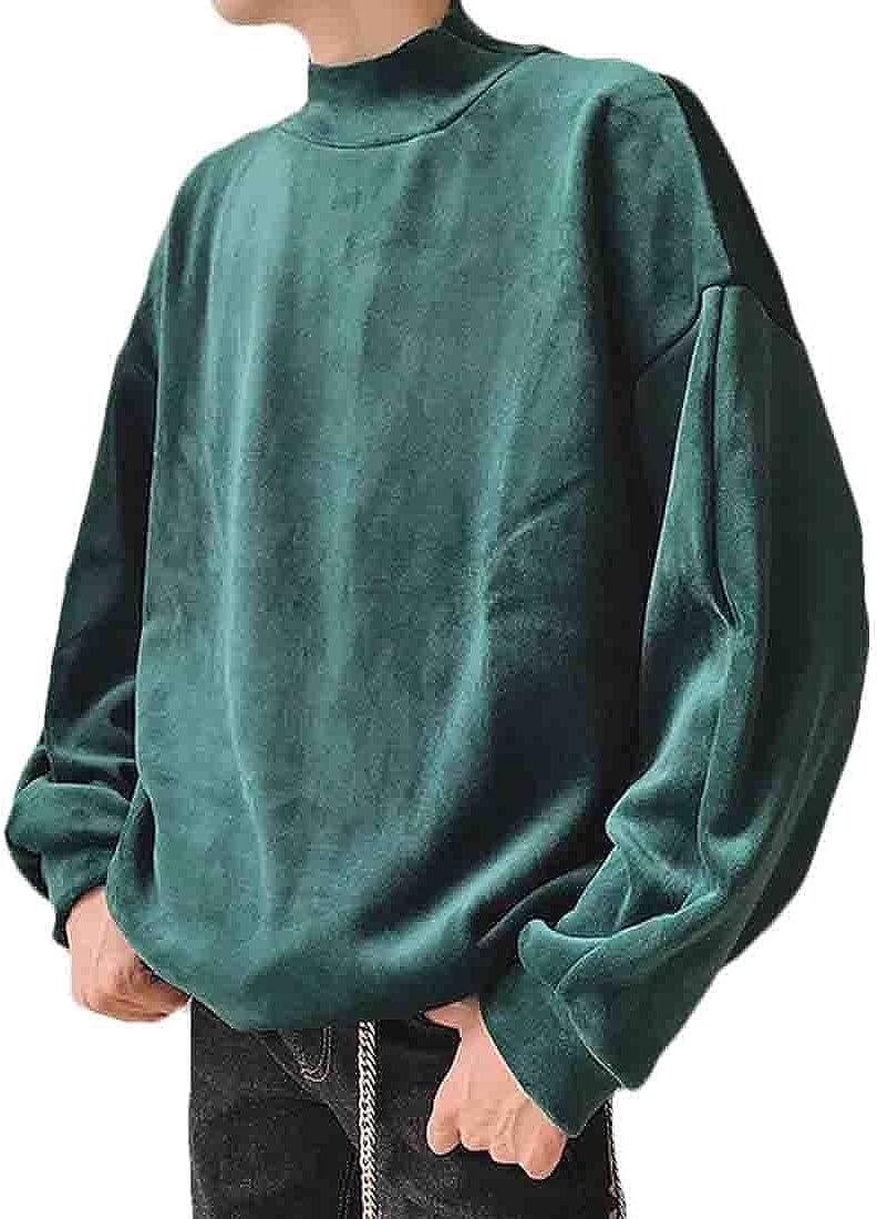 UUYUK Men Velvet Velour Hip Hop Mock Neck Sweatshirt Tops