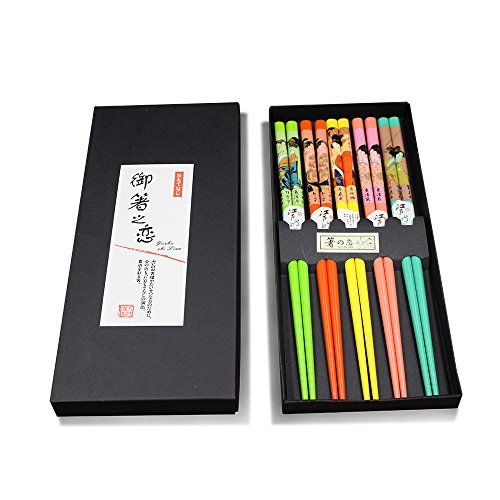 """HUANGYIFU 9.8"""" Long Five Pairs Colorful Reusable Classical Pattern Chopsticks,with (Paint Grade Maple Frame)"""
