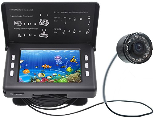 "XIKEZAN Fishing Finder 1000TVL Underwater Fish Video Camera with 3.5"" Color LCD Screen & Infrared Leds & 15M Cable (F7)"