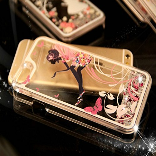 iPhone 7 Hülle Transparent,iPhone 7 Hülle Glitzer,iPhone 7 Case Slim,Schutzhülle Für iPhone 7 Hülle Transparent Hardcase,EMAXELERS 3D Kreative Liquid Bling Kristall Glitzer Hülle Case Für iPhone 7,iPh J Fairy Girl 2
