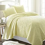 Simply Soft Ultra Soft Damask Patterned Quilted Coverlet 3 Piece Set, Twin/Twin X-Large, Yellow