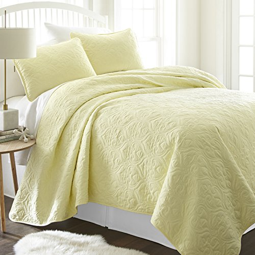 - Simply Soft Quilted Coverlet Set Damask Patterned , Twin/Twin X-Large, Yellow