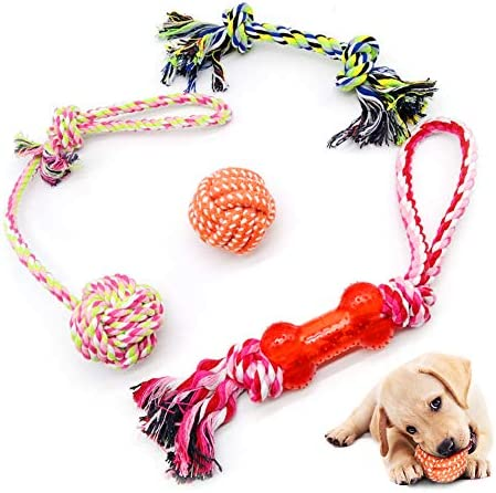 AnCoSoo Dog Rope Toys ,Dog Chew Toy Set,Rope Ball,Cotton Knot,Dog Interactive Toy,Durable Braided Cotton Rope Toy for Small/Medium Dogs(4 Pcs) (Multicolor)