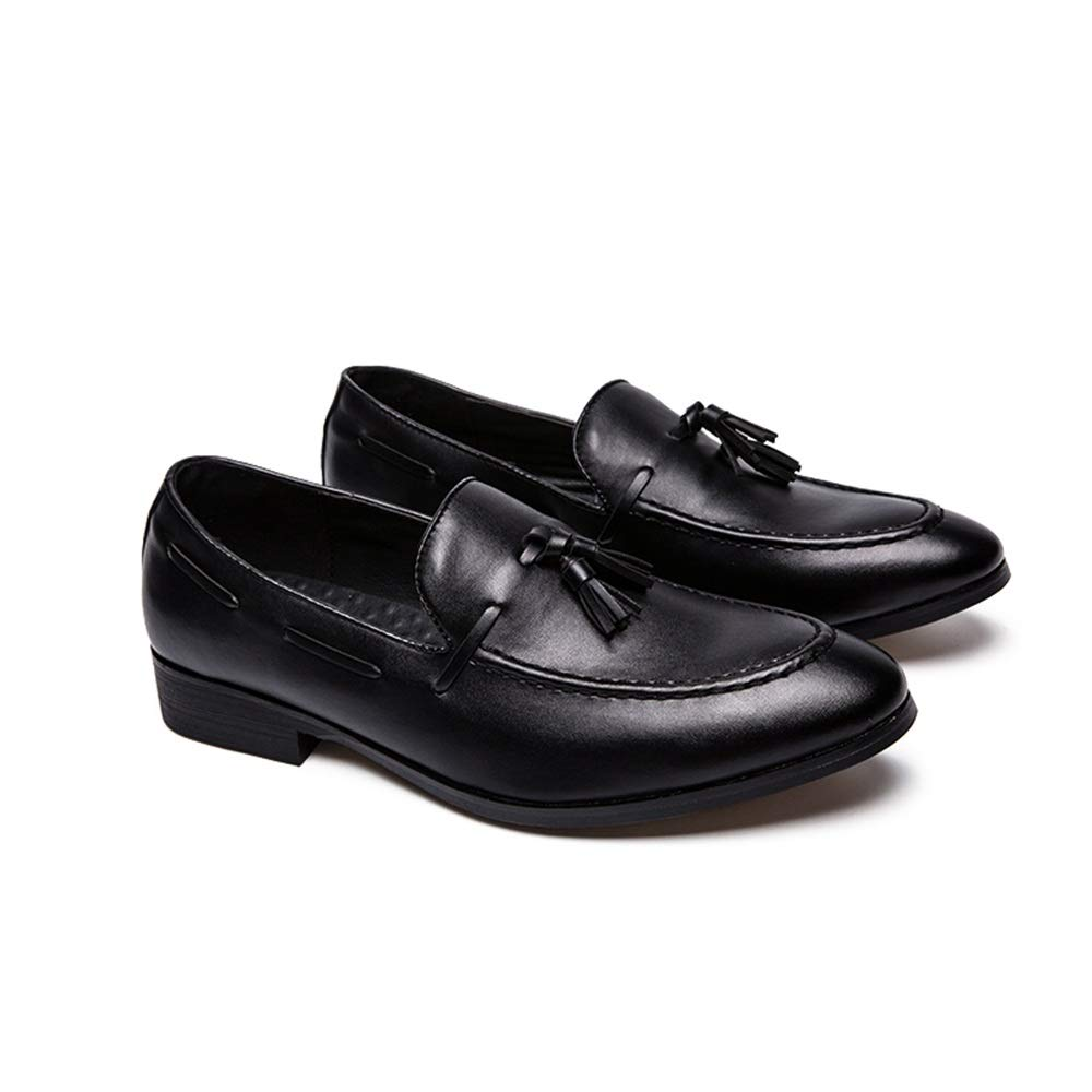 Elegdy Mens Fashion Oxford Casual Classic Tassel Comfortable Low Top PU Leather Formal Shoes Dress Shoes