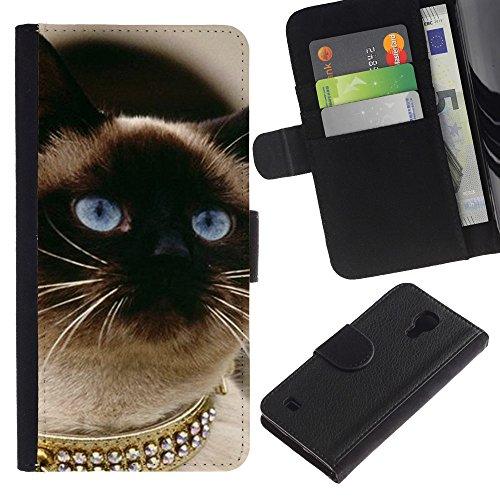 EuroCase - Samsung Galaxy S4 IV I9500 - Siamese cat gold blue eyes birman - Cuero PU Delgado caso cubierta Shell Armor Funda Case Cover