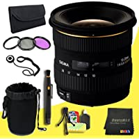 Sigma 10-20mm f/4-5.6 EX DC HSM Lens for Canon Digital SLR Cameras + 77mm 3 Piece Filter Kit + Lens Cap Keeper + Deluxe Lens Pouch + Lens Pen Cleaner + DavisMAX MicroFiber Cloth + Deluxe Starter Kit  DavisMAX Bundle
