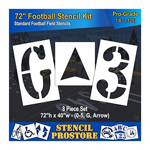 Football Stencil Marking - Athletic Marking Stencils - 72 inch - Football Field Number Stencils - (8 Piece) - 72