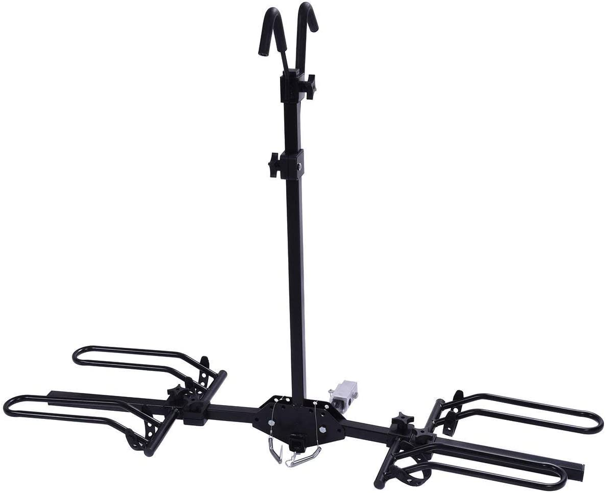 Goplus 2-Bike Hitch Mount Rack Hitch Mounted Bike Carrier Fits 1-1 4 and 2 Hitch Receivers, Tray Style Smart Tilting Design Bike Rack
