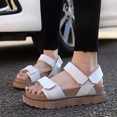 RUGAI-UE Moda de Verano Mujer sandalias casuales zapatos de tacones PU Confort,Champagne,US8 / UE39 / UK6 / CN39 White