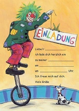 Zirkus Clown Einladungen Geburtstag Kindergeburtstags Einladungen 12er Set