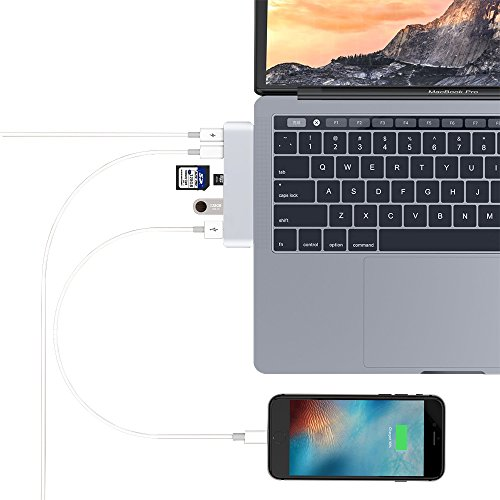 PinPle USB C HUB Dual Type-C Card Reader with 2 USB 3.1 Charging Port & 2 USB 3.0 Port & SD Card Slot & Micro SD Card Slot for MacBook Pro 13'' / MacBook Pro 15'' (Silver) by PinPle