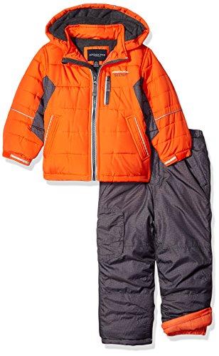 London Fog Little Boys' 2-Piece Snow Pant and Jacket Snowsuit, Orange, 5/6