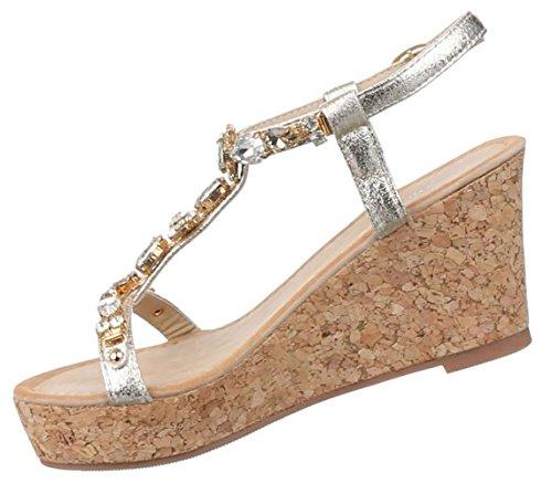 Damen Sandaletten Schuhe Keilabsatz Wedges Plateau Pumps Schwarz Blau Gold Rot Silber 36 37 38 39 40 41 Gold