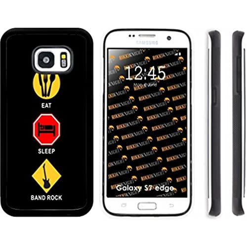 Rikki Knight Eat Sleep Band Rock Design Samsung Galaxy S7 Edge Case Cover (Black Rubber with front Bumper Protection) for Samsung Galaxy S7 Edge ONLY Sales
