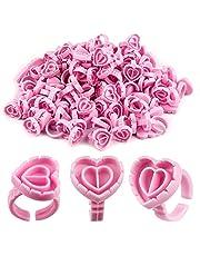 SAVITA 100 Stuks Wimperlijm Houder Ringen Hartvormige Plastic Lash Lijm Ringen Fan Blossom Lijm Cups Wimper Beauty Tool voor Wimper Extensions (Roze)