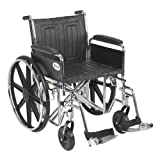 Drive Medical Sentra EC Heavy Duty Wheelchair with Various Arm Styles and Front Rigging Options, Black, Bariatric 20''