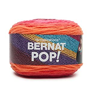 Bernat POP! Yarn (4) Medium Gauge 100% Acrylic - 5oz - Scarlet Sizzle - Machine Wash & Dry