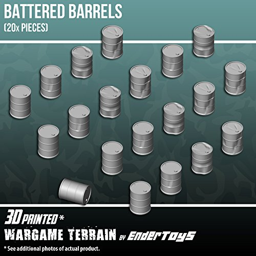 Assorted Battered Barrels, Terrain Scenery for Tabletop 28mm Miniatures Wargame, 3D Printed and Paintable, EnderToys