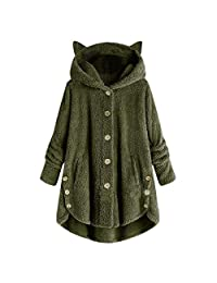 EISHOW Women's Loose Fleece Hoodies Coat Pullover Button Oversized Warm Fuzzy Sweater Casual Outerwear with Pockets