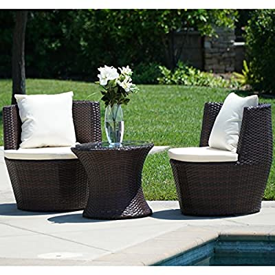 BELLEZE 3PC Patio Outdoor Rattan Patio Set Wicker Backyard Yard Furniture Outdoor Set Hour Glass Table Round Chairs, Brown - Simple Contemporary- Design of this patio set suits a range of tastes and preferences, which complements any Outdoor/Indoor living space Elegant and Comfortable- 3-Piece Wicker set will transform your outdoor area into a cozy private retreat Classy Design- Patio set features a classy and comfortable fabric cushion, which matches with a rich Rattan material - patio-furniture, patio, conversation-sets - 511oj9m%2BnmL. SS400  -