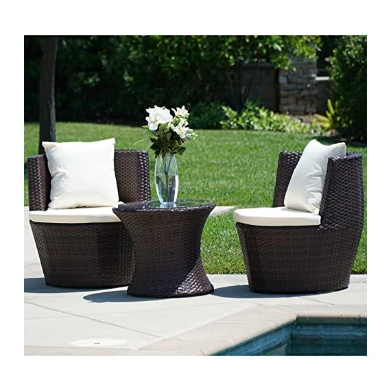 Belleze 3PC Patio Outdoor Rattan Patio Set Wicker Backyard Yard Furniture Outdoor Set Hour Glass Table Round Chairs, Brown - Simple Contemporary- Design of this patio set suits a range of tastes and preferences, which complements any Outdoor/Indoor living space Elegant and Comfortable- 3-Piece Wicker set will transform your outdoor area into a cozy private retreat Classy Design- Patio set features a classy and comfortable fabric cushion, which matches with a rich Rattan material - patio-furniture, patio, conversation-sets - 511oj9m%2BnmL. SS570  -