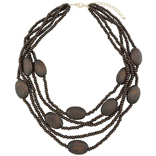 COIRIS Multi Color 5 Layers Wood Beads Strand Statement Necklace for Women Chunky Collar (N0019-Brown)