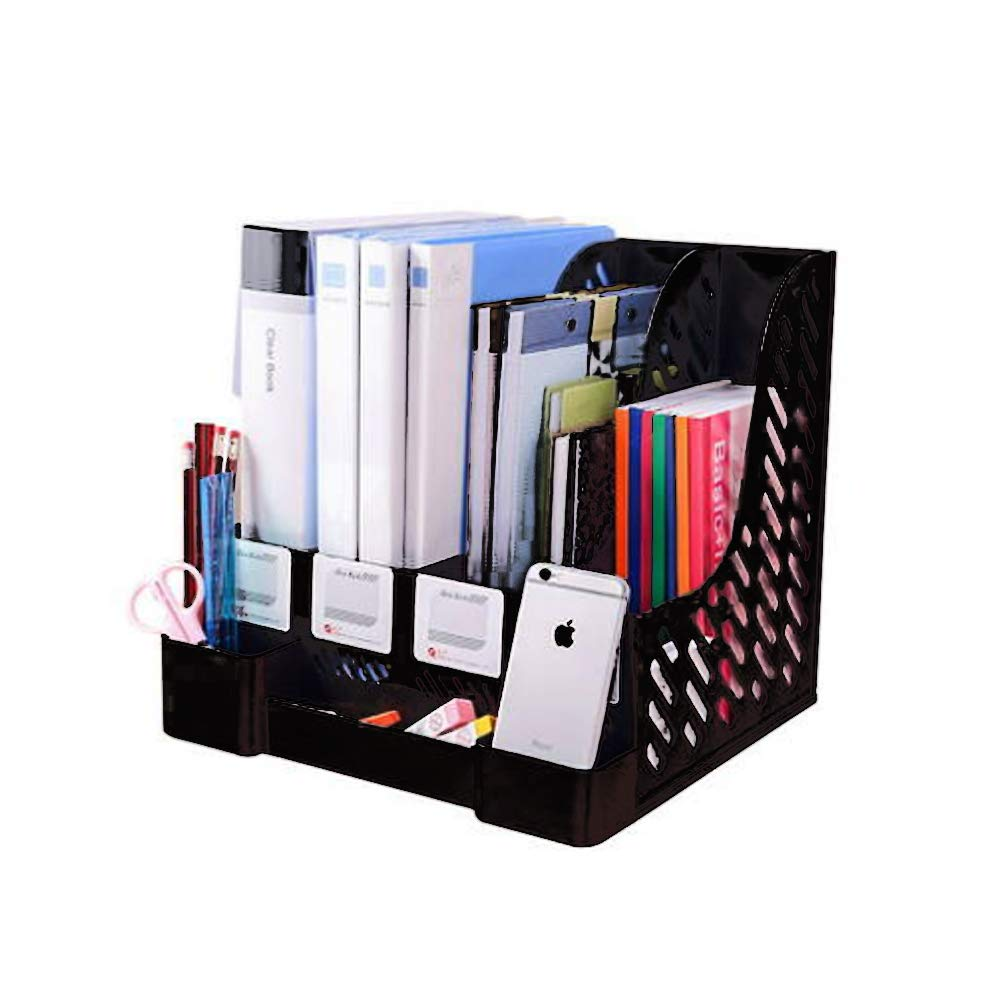 Whchiy Multipurpose File Rack in plastica a Grande capacità Magazine Book Holder Storage riviste Libri giornali Grey