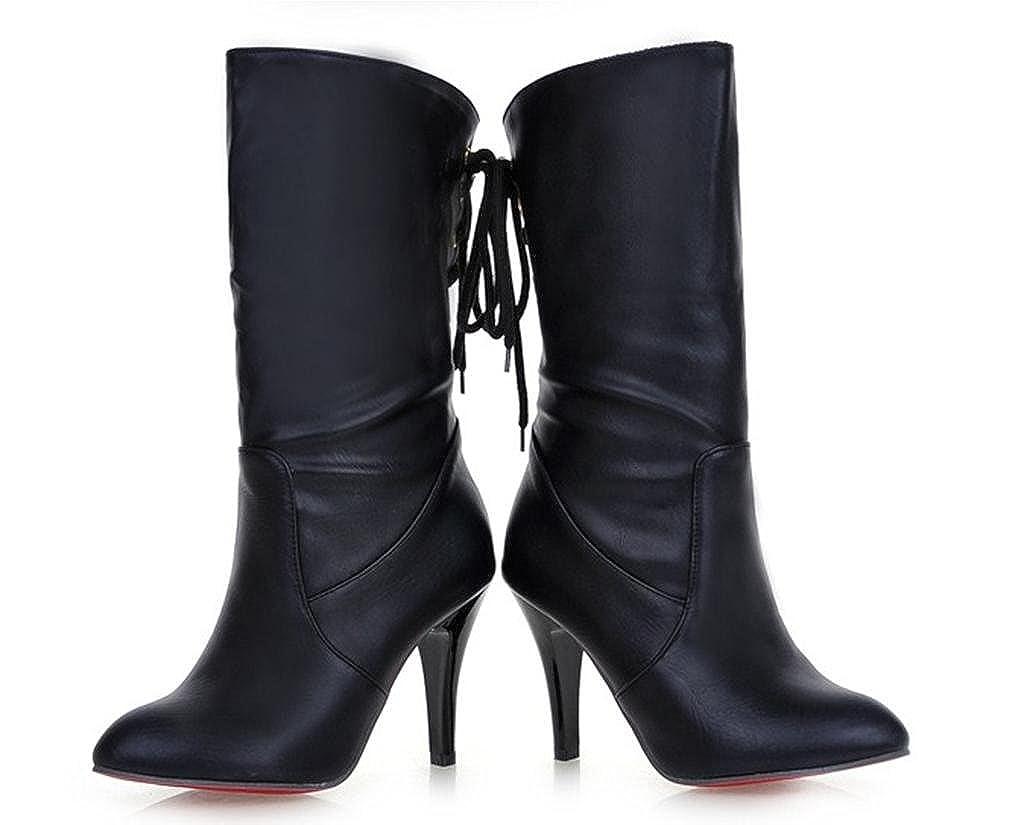 MNII Damen damen High Heel Stretch Faux Faux Faux Leder Wildleder Stiefel Schuhe- Modeschuhe 371f60