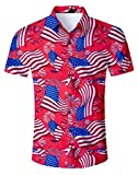 Fanient Mens Summer Hawaiian Shirt 3D Floral Print Short Sleeve Funky Button Down Graphic Aloha Dress Shirts for Casual