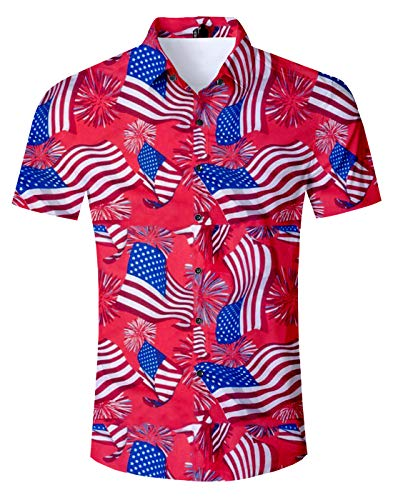 Fanient Men 3D American Flag Pattern Button Down Shirts Slim Fit Summer Casual Short Sleeve Muticolor Shirts XL ()