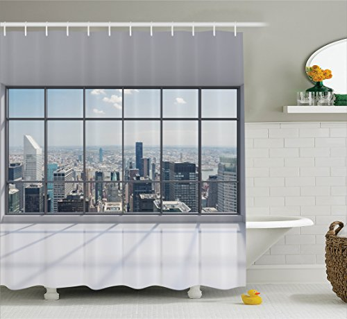 House Decor Shower Curtain Set By Ambesonne, Clean Office With Big Window Downtown Skyscraper Buildings Domestic Cityscape, Bathroom Accessories, 69W X 70L Inches (Curtains Inch Window 70)