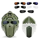ActionUnion Fast Tactical Helmet Full Face Head Mask and Goggles Protective with Visor Goggles for Airsoft Military Hunting Paintball CS Necessary Riding Motorcycle Cosplay Movie Prop