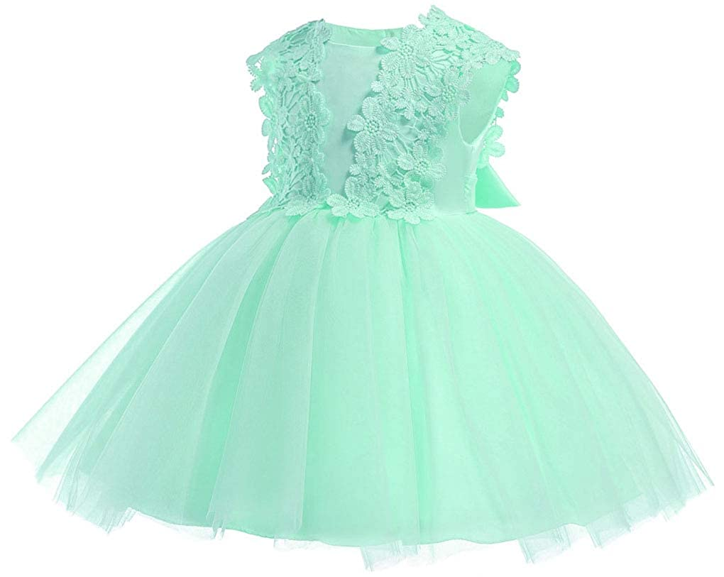 Toddler Baby Girls Lace Applique Christing Pageant Birthday Party Baptismal Dress