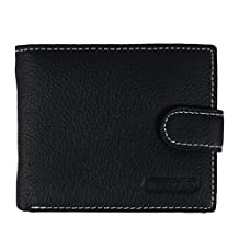 Mens Genuine Leather Purse Bi-fold Wallet Credit Card Holder with Id Window and Coin Pocket (Black)