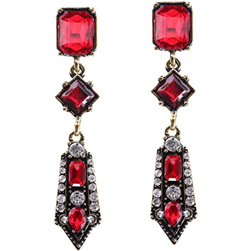 BABEYOND 1920s Flapper Earrings 20s Great Gatsby Earrings Vintage 20s Flapper Accessories Gatsby Costume Accessories (Wine Red)