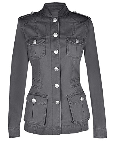 NOROZE Ladies Military Style Summer Jacket (8(UK 12), Silver Button Dark Grey) (Military Jacket Women Grey)