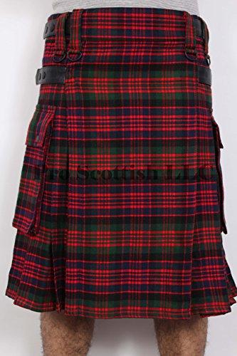 MacDonald Tartan Contemporary Kilt Heavy Weight 16oz With Leather Straps (34W x 24L)