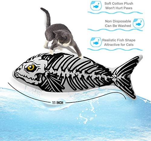 Ospetty Halloween Catnip Moving Fish Cat Toy Electric Dancing Fish Catnip Kicker Interactive Realistic Floppy Fish Toy Lifetime Replacement Guarantee 25