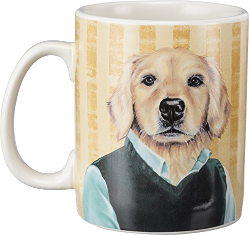 Golden Retriever Coffee Mug – Double-Sided Painterly Pet Portraits – 20 oz. Stoneware Cup – from Primitives by (Retriever Dog Portrait)